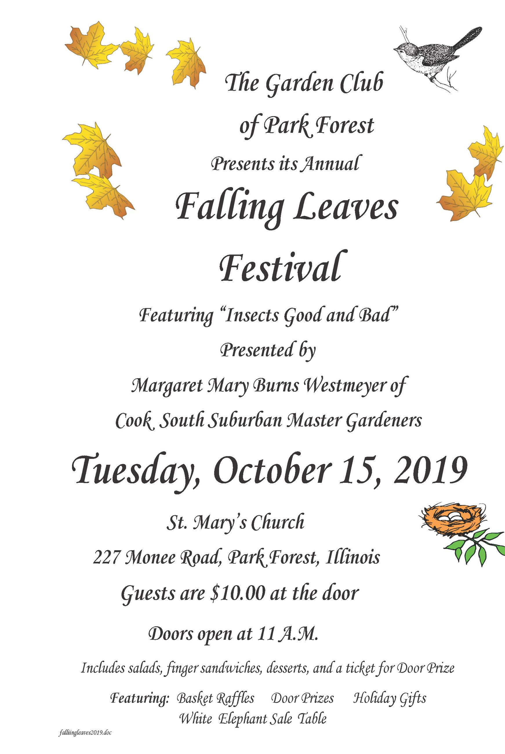 Flyer - Park Forest Garden Club - Falling Leaves Event 2019