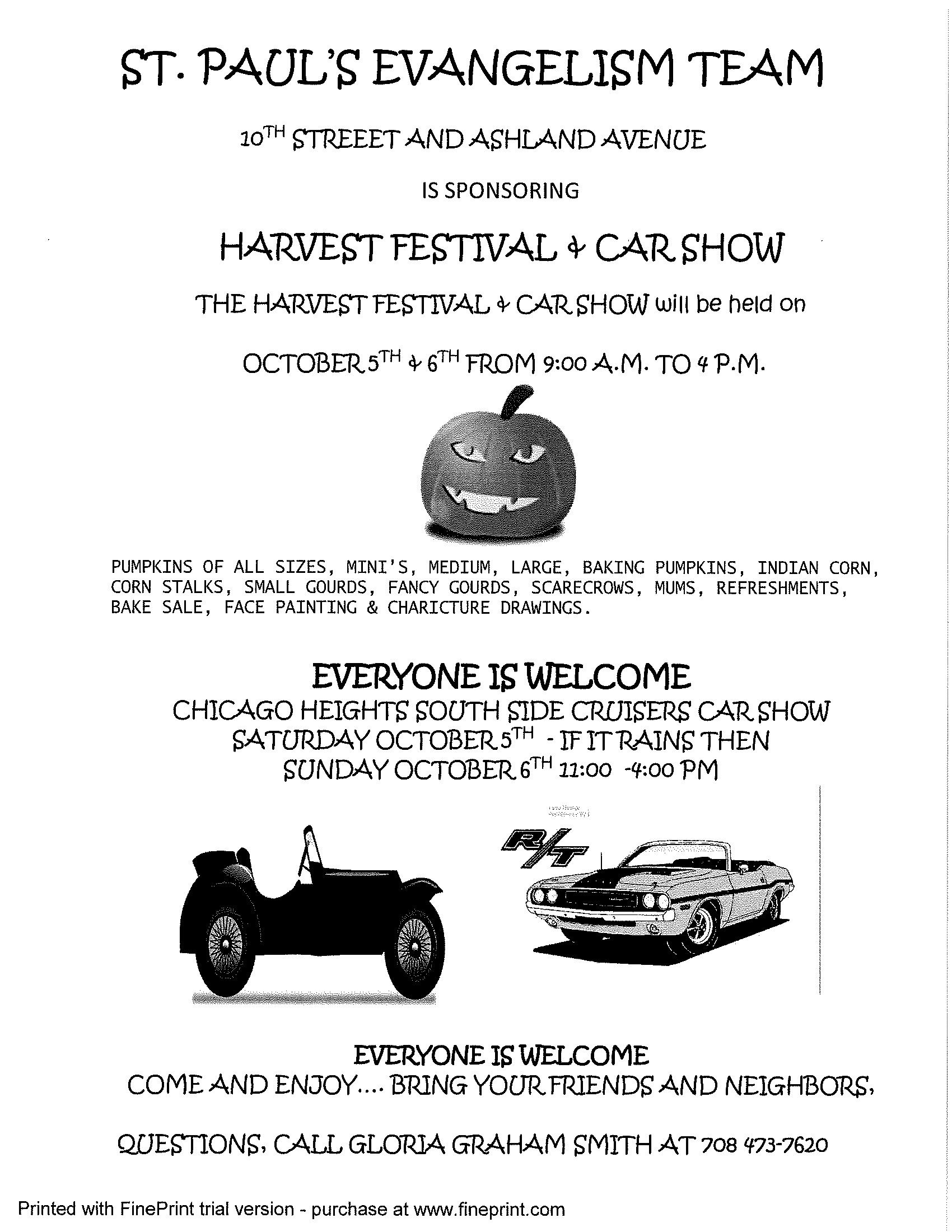 Flyer - St. Paul Lutheran Church - Harvest Festival and Car Show October 5-6, 2019