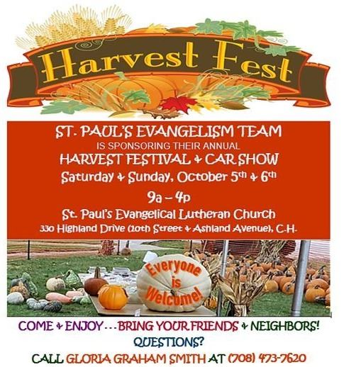 St. Paul Lutheran Church Annual Harvest Festival - Sat.-Sun., October 5th-6th, 2019