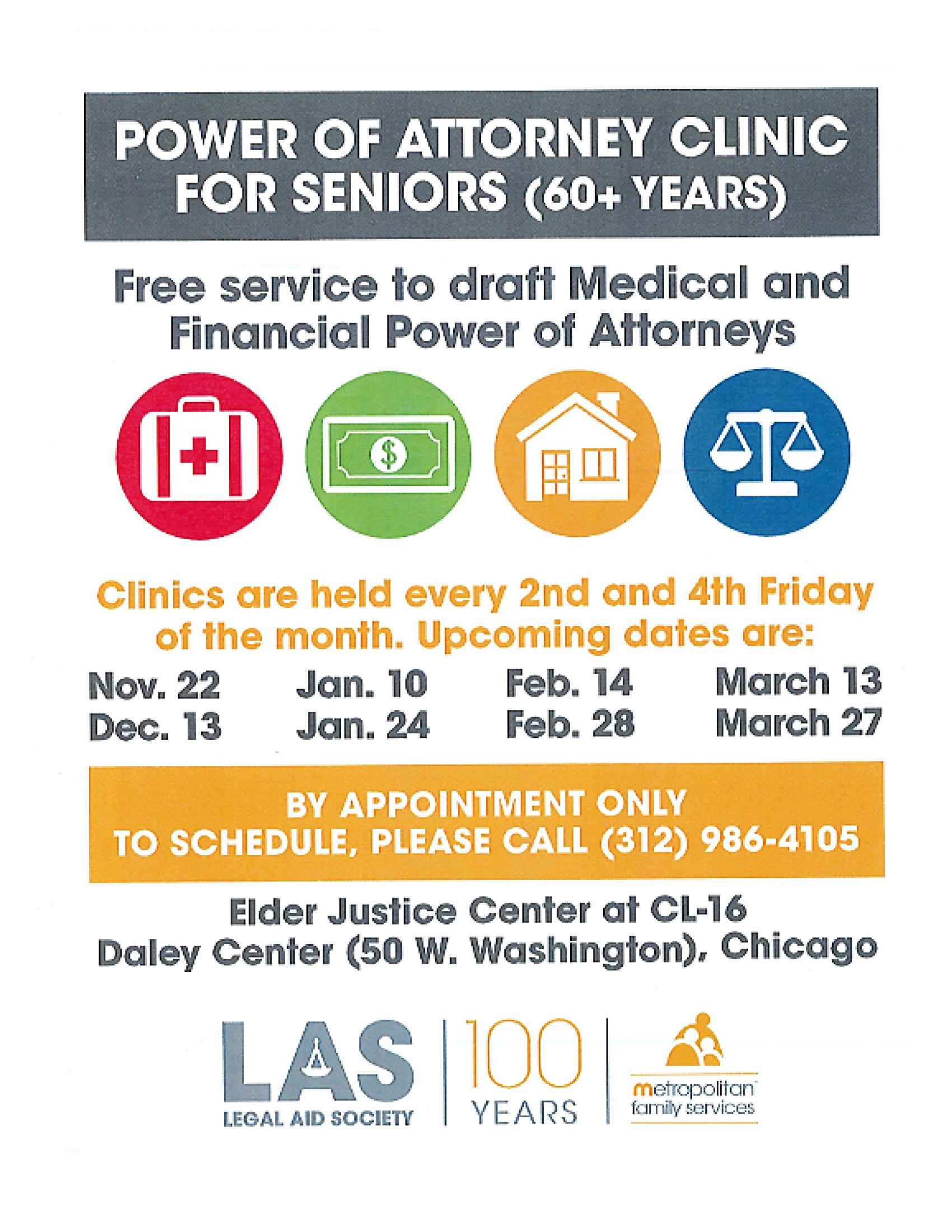 2020 Metropolitan Family Services - Legal Aid Society - Power of Attorney Clinic for Seniors