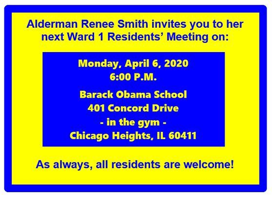 Ward 1 Monthly Residents Meeting on Monday, April 6, 2020