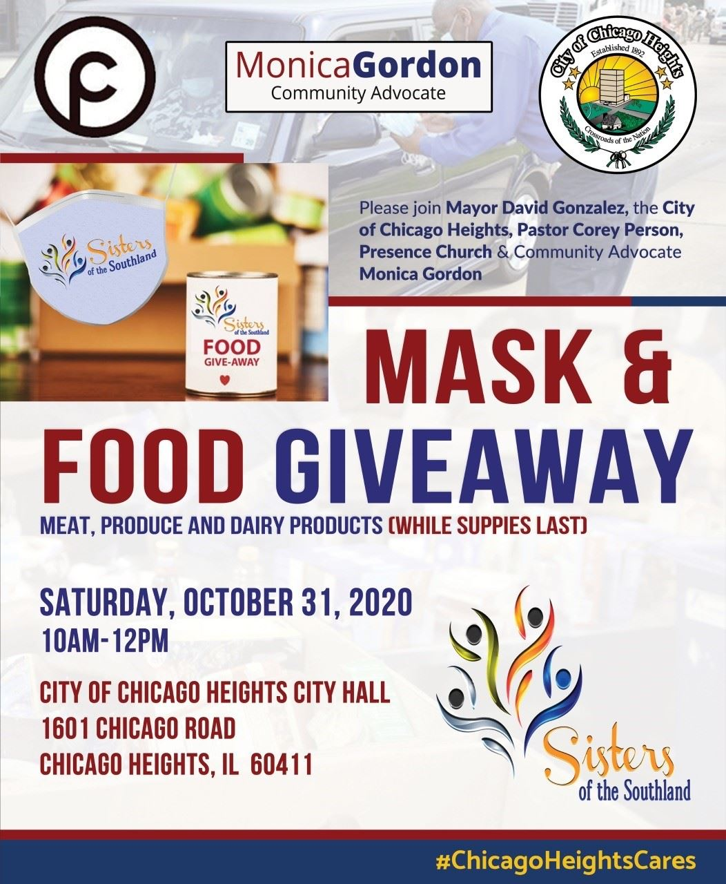 City of Chicago Heights Event - Mask and Food Giveaway Saturday, October 31 2020