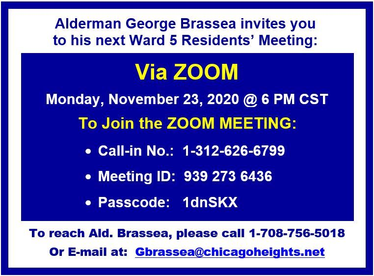 Ward 5 - Next ZOOM Meeting - Monday 11-23-20 6p