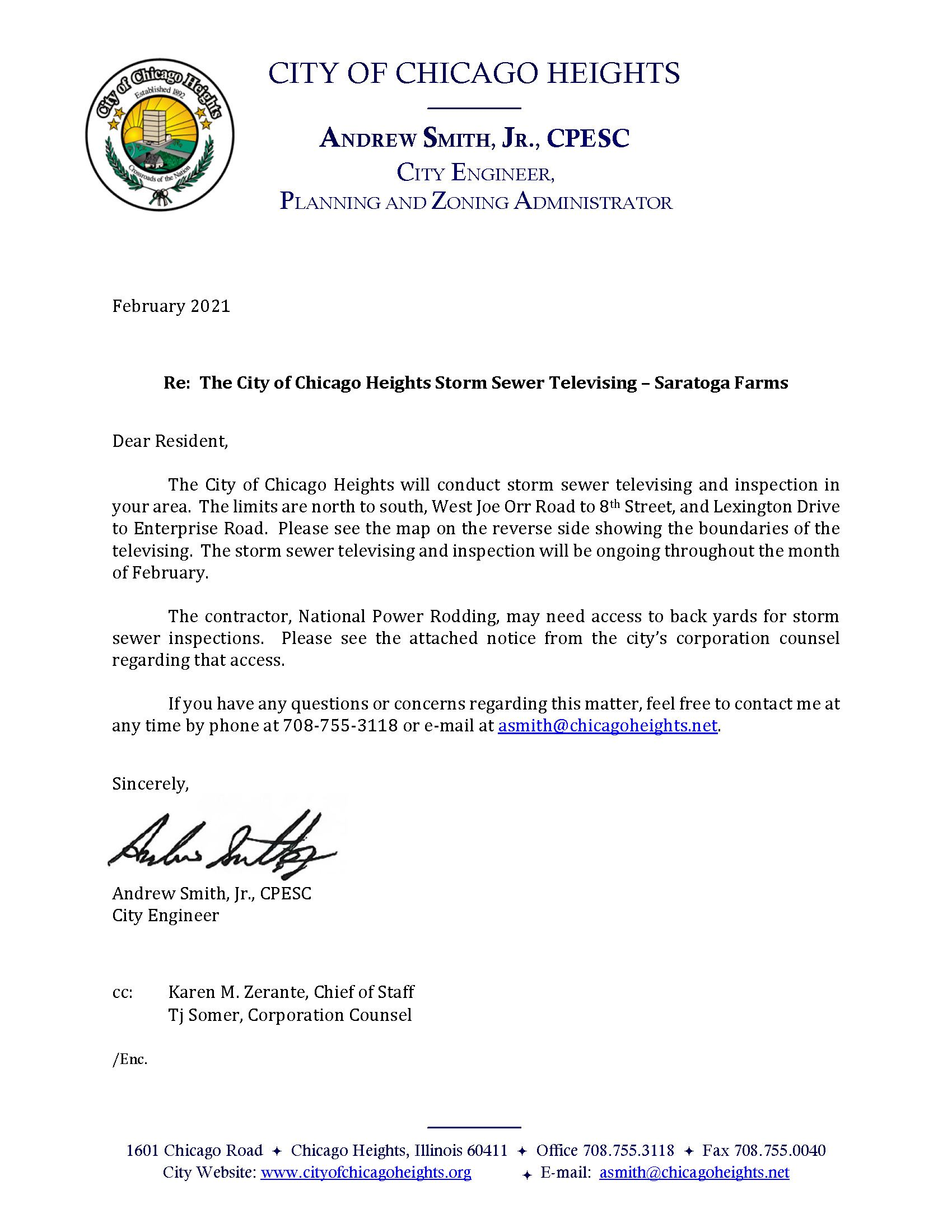 Letter of Saratoga Farms Storm Sewer Televising and Inspection February 2021