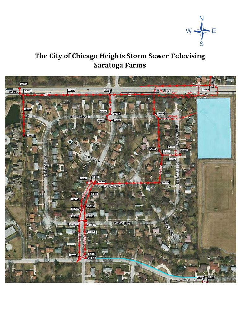 Map of Saratoga Farms Storm Sewer Televising and Inspection February 2021