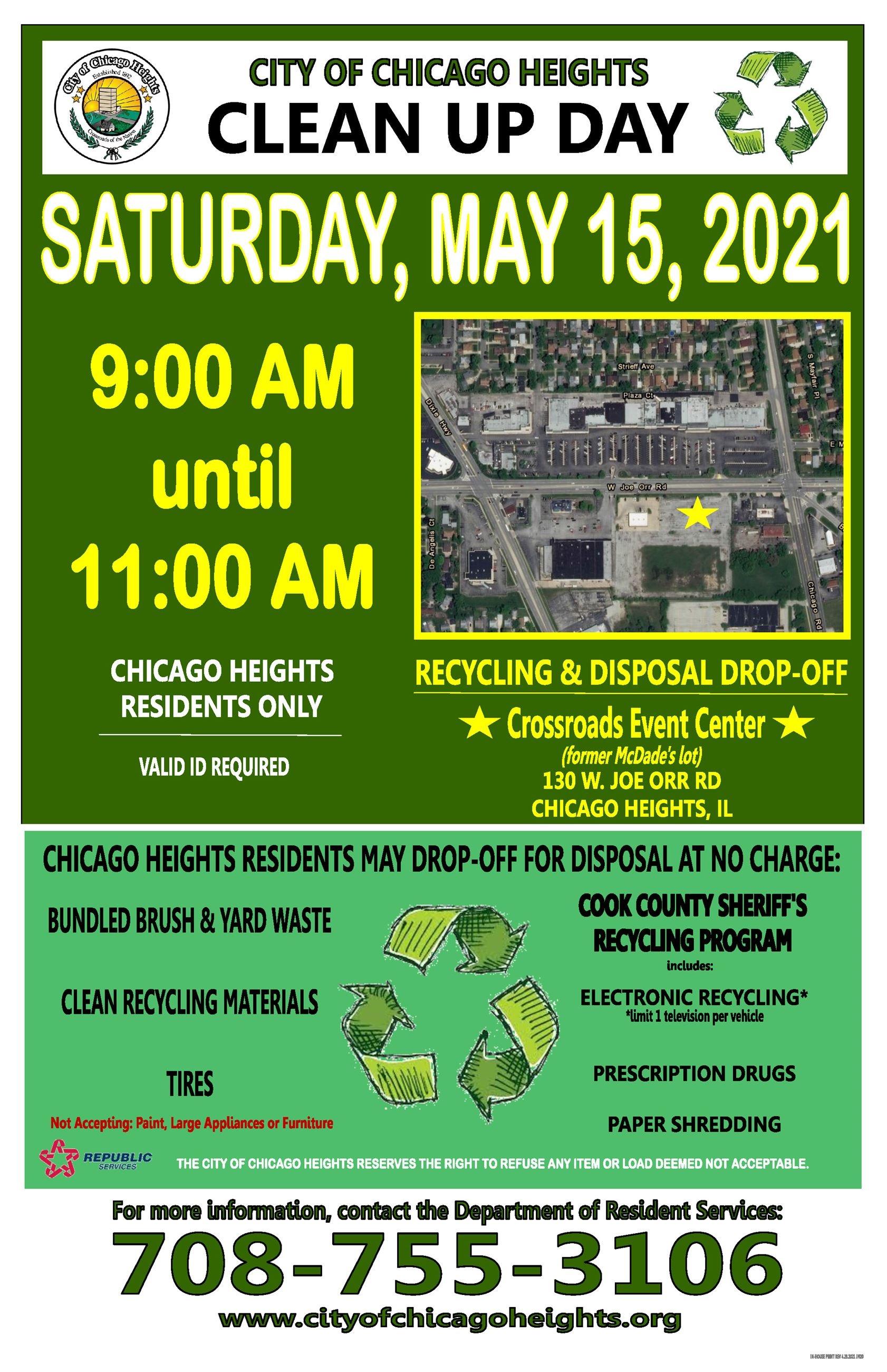 Chicago Heights Citywide Clean-Up Day, Saturday, May 15, 2021