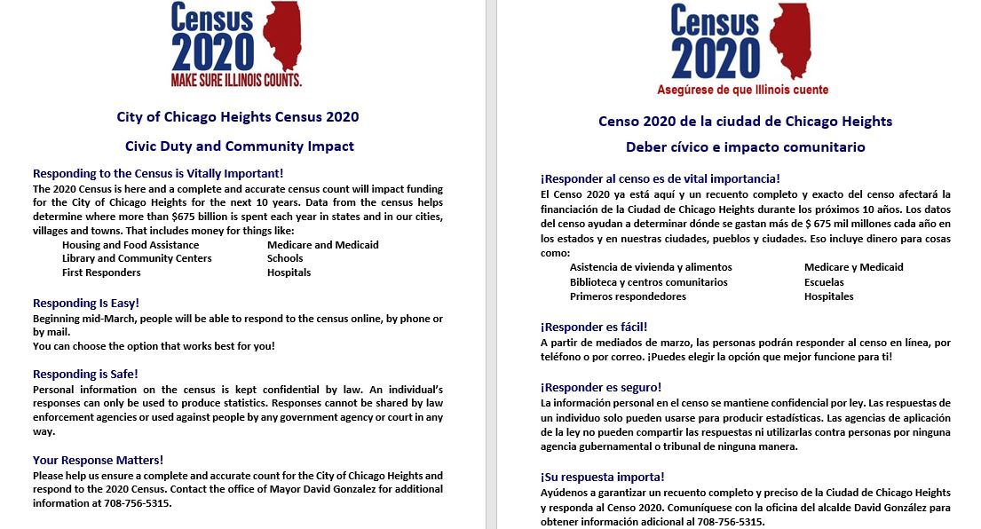 Flyer - CoCH Census 2020 - Civic Duty and Community Impact - English and Spanish