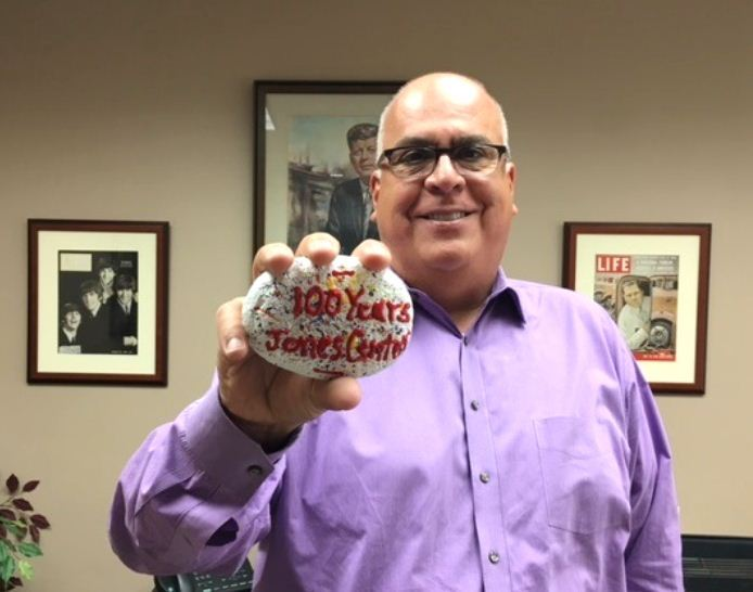 Jones Center Rocks Program - photo of Mayor holding commemorative rock