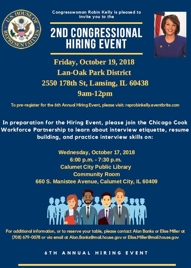 Congresswoman Robin Kelly 2018 hiring event