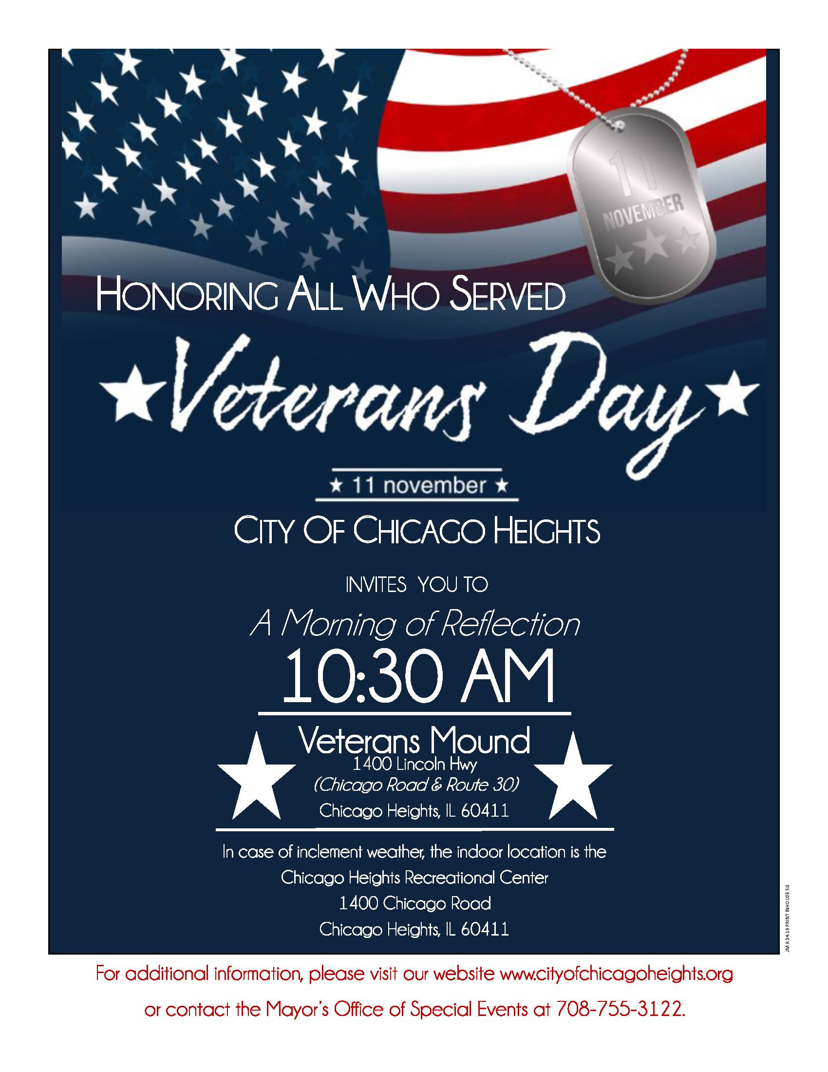 2019  Veterans Day - City of Chicago Heights Morning of Remembrance - Mon., 11-11-19