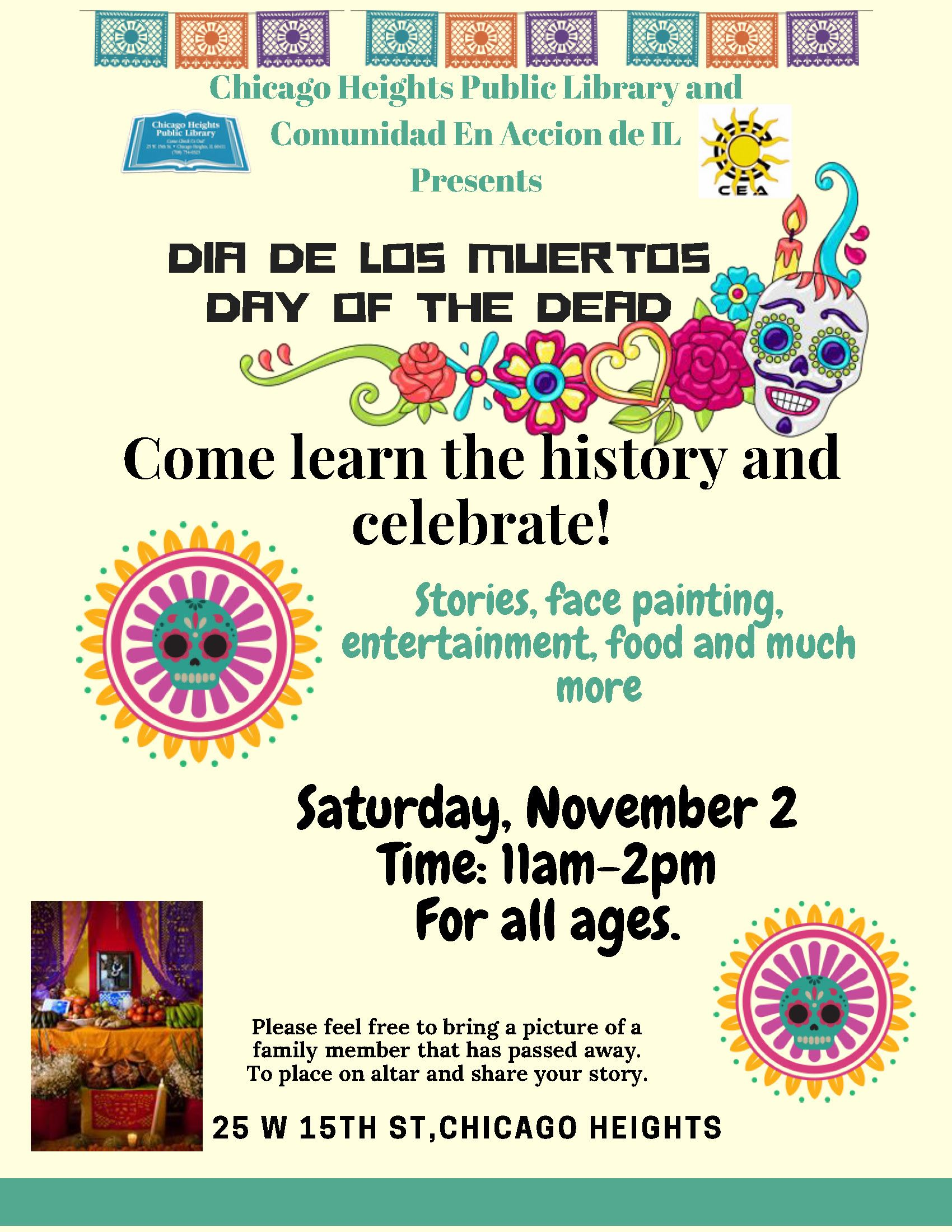 Flyer - English - Day of the Dead Celebration - Chicago Heights Library - Sat., Nov. 2, 2019