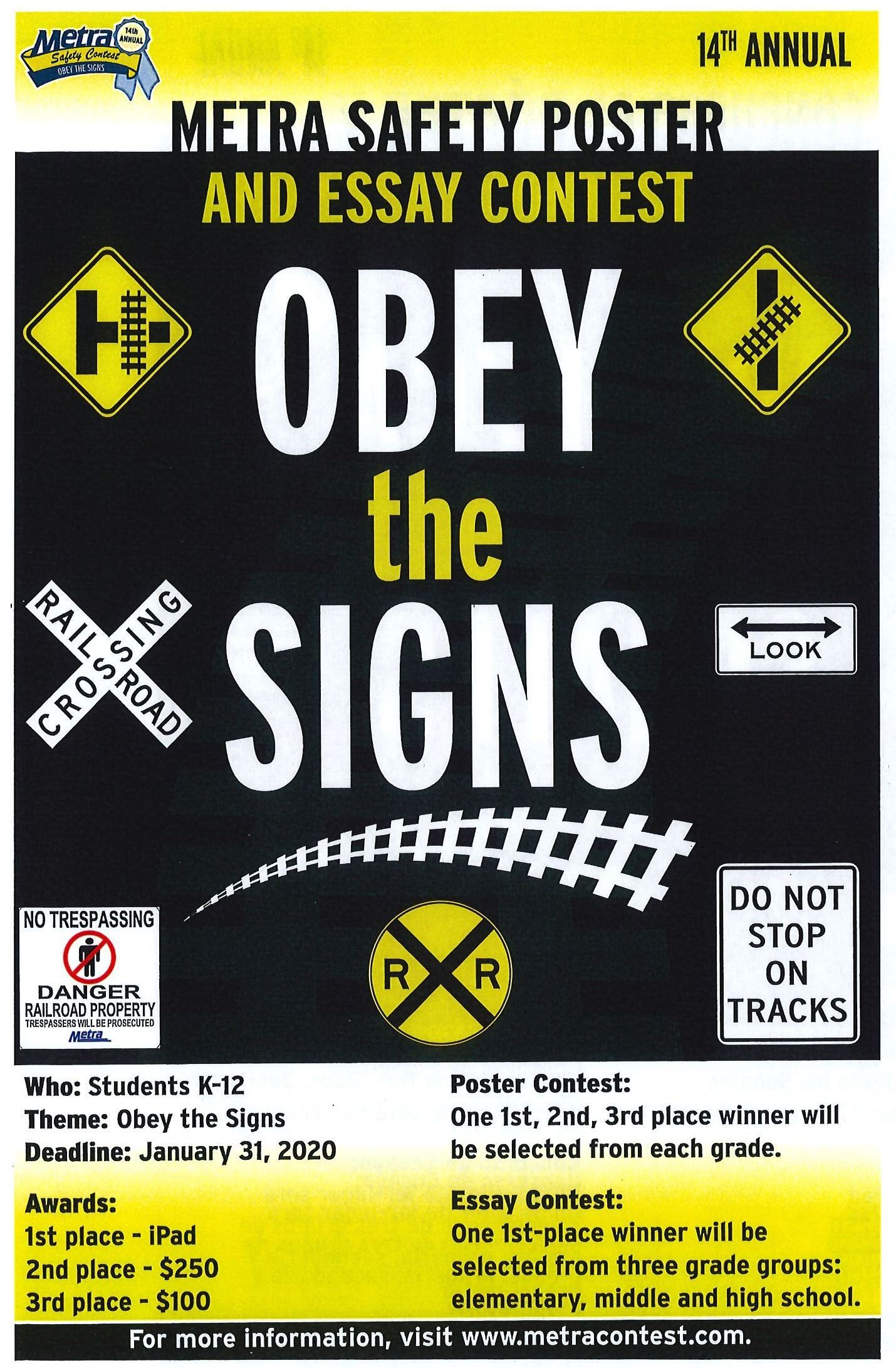 Metra Essay and Poster Contest - 2019-2020 Theme is Obey the Signs - English