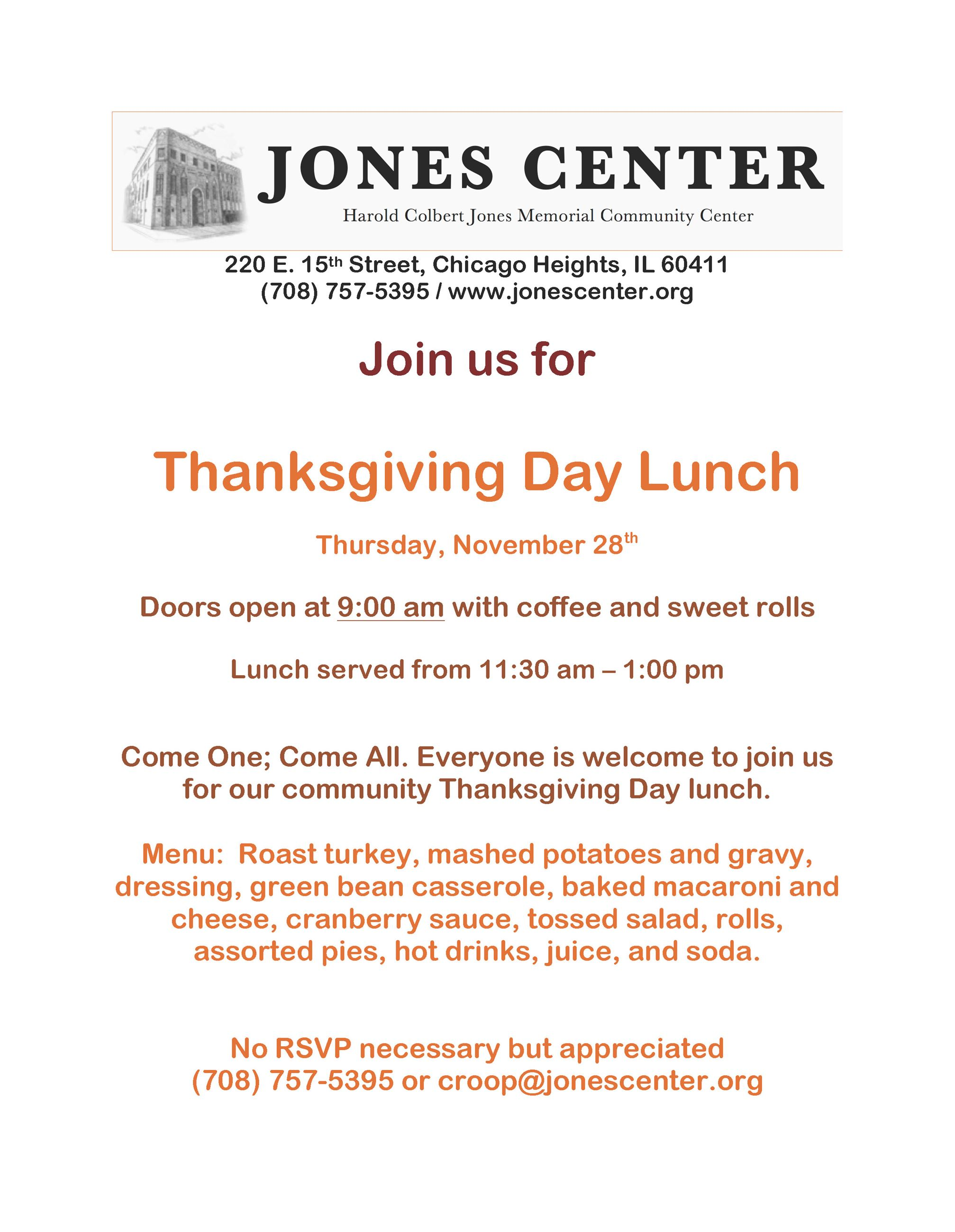 2019 - The Jones Center - Thanksgiving Lunch Flyer - November 28, 2019