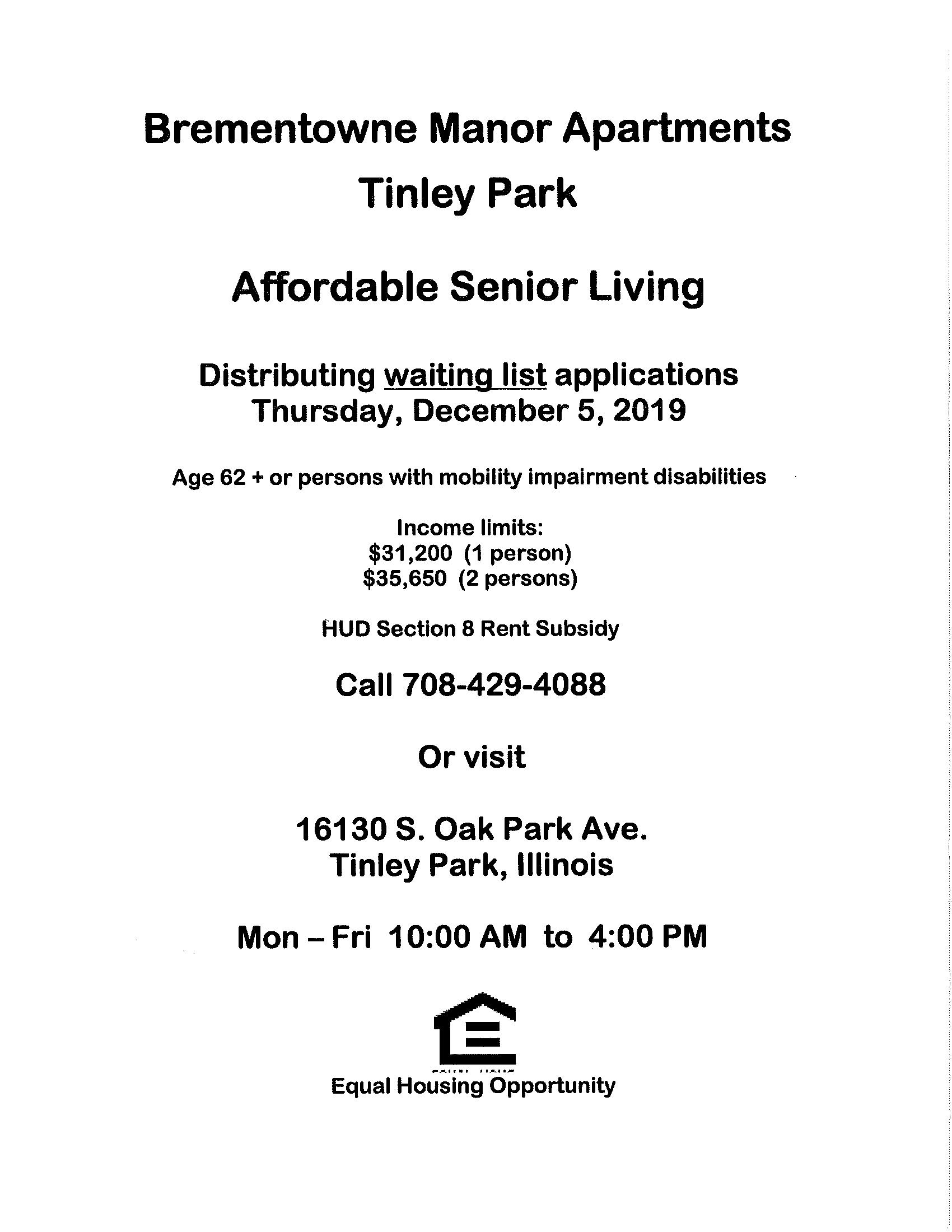 Brementowne Manor Senior Apartments Tinley Park