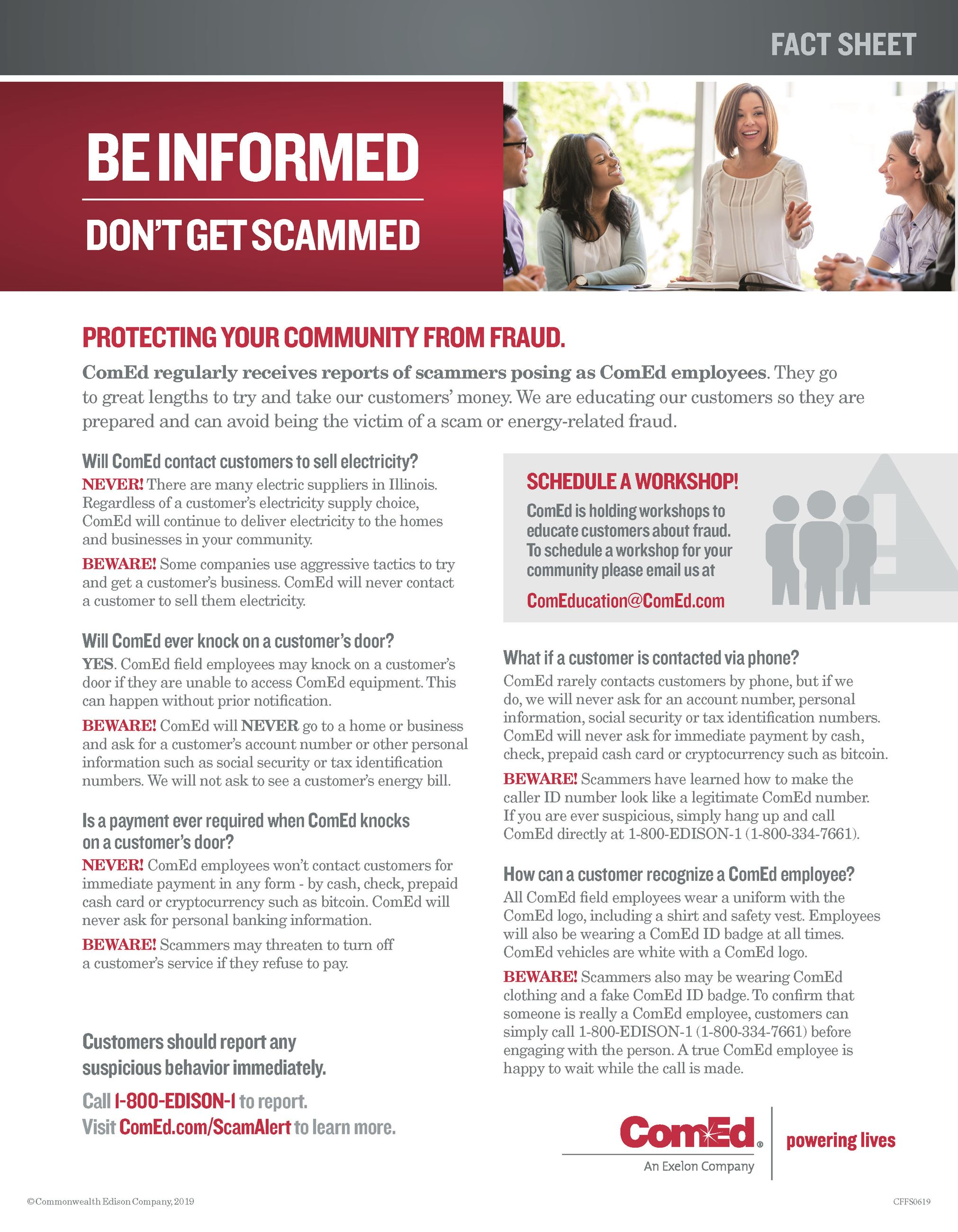 ComEd Consumer Fraud Fact Sheet - 01-21-20