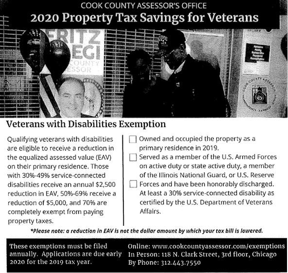Veteran Resources - Cook County Assesors Office - 2020 Property Tax Savings for Veterans with Disabi