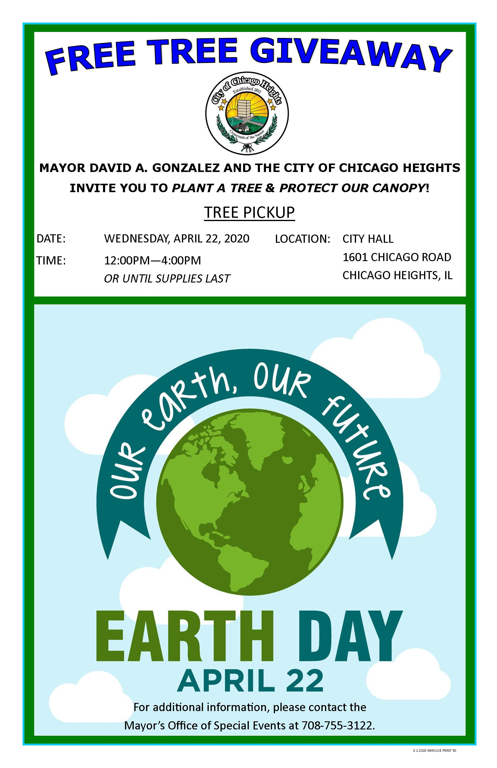 2020 - Earth Day Poster - Free Tree Giveaway
