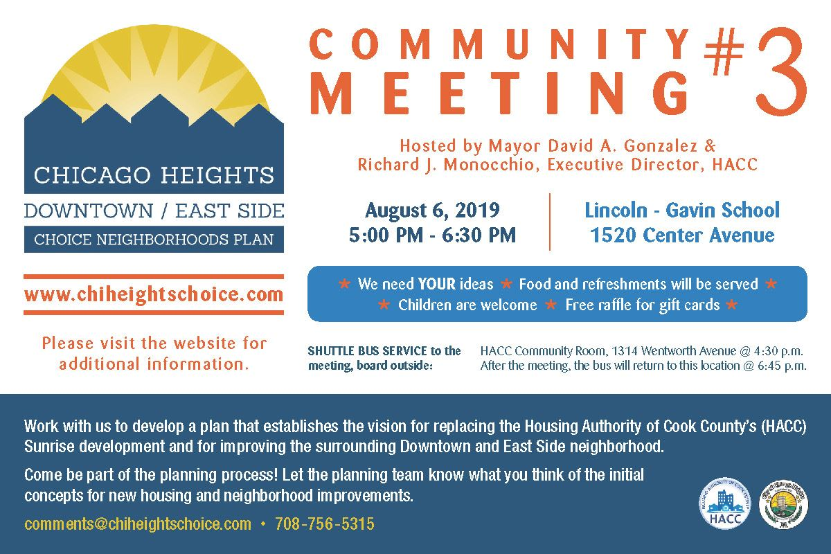 Choice Neighborhoods Community Meeting 3 - Tuesday, August 6, 2019 at Lincoln Gavin School