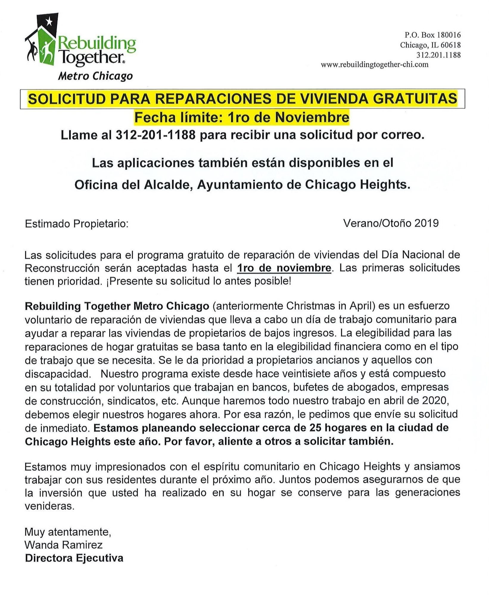 Flyer - Rebuilding Together Metro Chicago - Letter in Spanish - Reminder to Apply